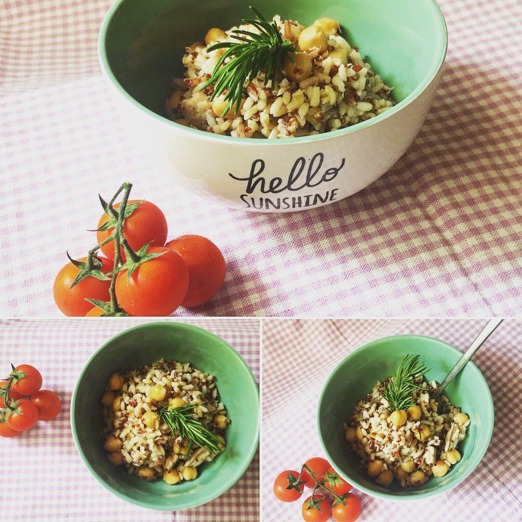 Tris di foto riso integrale e quinoa con ceci e tonno