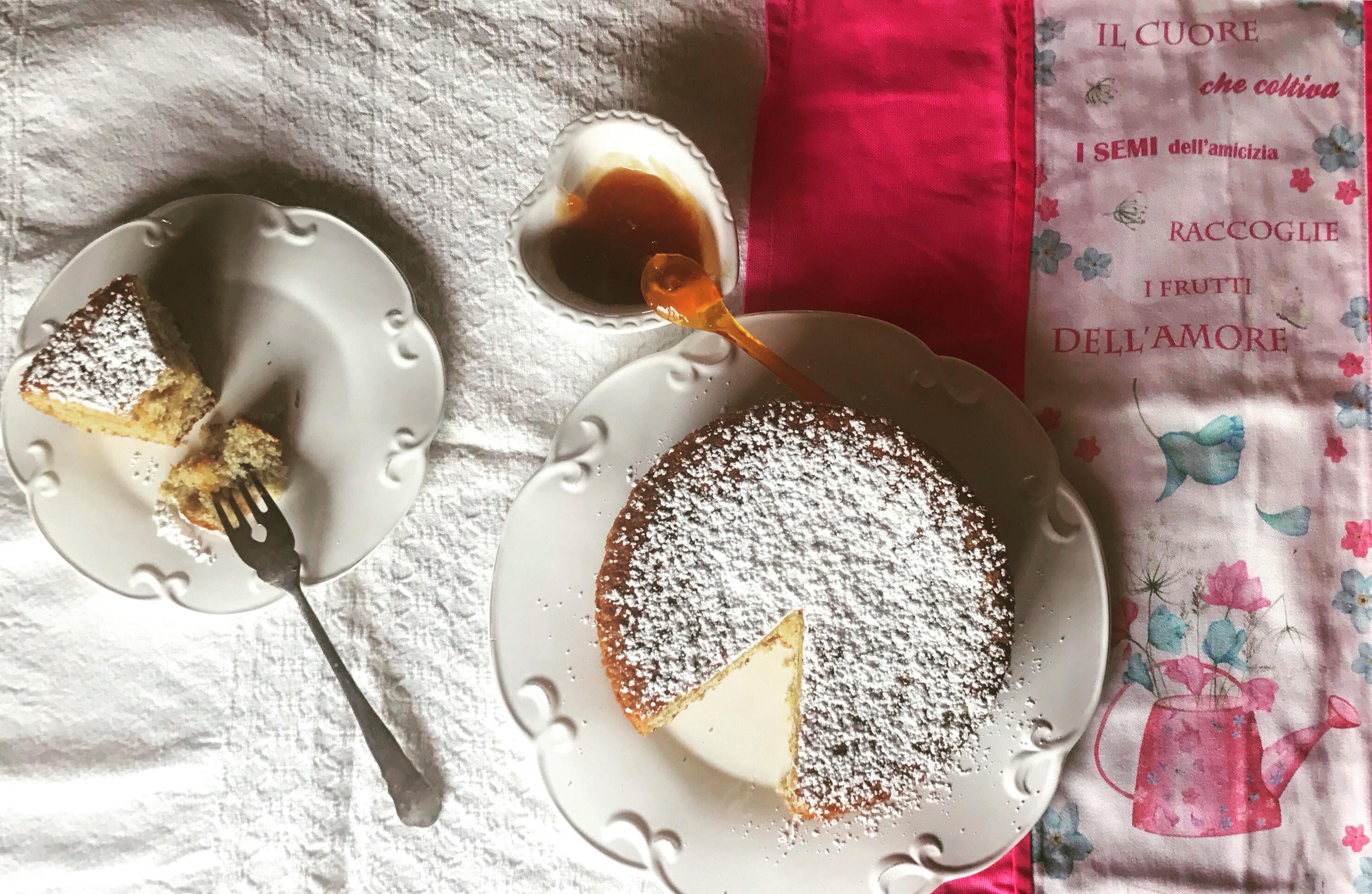 Visione dall'alto torta morbida all'albicocca senza glutine