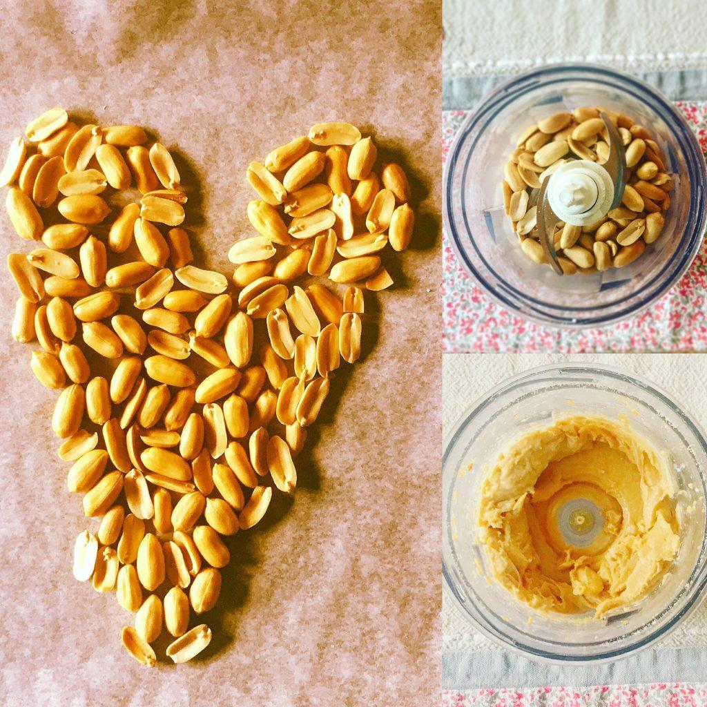 Tris di foto preparazione burro d'arachidi