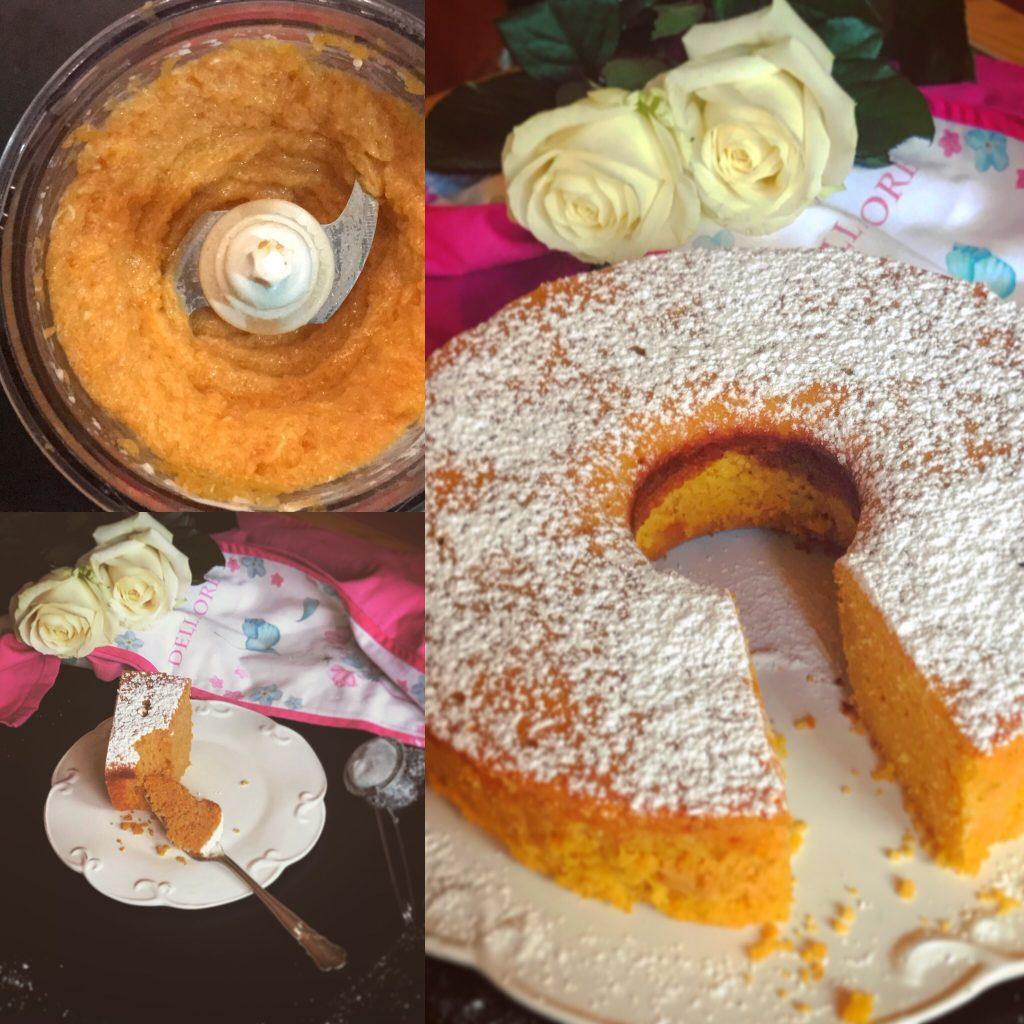 Tris di foto torta alla zucca senza glutine